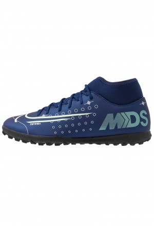 Nike MERCURIAL 7 CLUB TF - Voetbalschoenen voor kunstgras blue void/metallic silver/white/blackNIKE203077