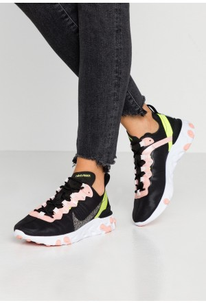 Nike REACT ELEMENT 55 PRM - Sneakers laag black/volt/coral stardust/light soft pink/whiteNIKE101383