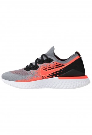 Nike EPIC REACT FLYKNIT 2 - Hardloopschoenen neutraal cool grey/bright crimson/black/whiteNIKE202887