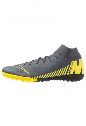 Nike MERCURIAL SUPERFLYX 6 ACADEMY TF - Voetbalschoenen voor kunstgras dark grey/black/opti yellowNIKE203180