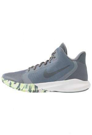 Nike PRECISION III - Basketbalschoenen cool grey/dark grey/platinum tint/lab greenNIKE202808