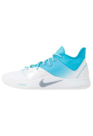 Nike PG 3 - Basketbalschoenen platinum tint/light current blue/lime blastNIKE202767