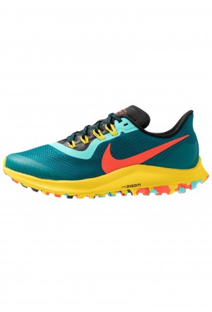 Nike AIR ZOOM PEGASUS 36 TRAIL - Trail hardloopschoenen geode teal/bright crimson/black/chrome yellow/aurora greenNIKE101786