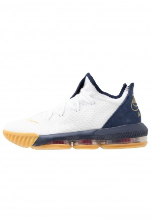 Nike LEBRON XVI LOW - Basketbalschoenen white/metallic gold/midnight navy/university redNIKE203148
