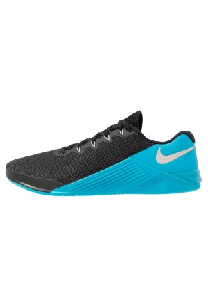 Nike METCON 5 - Sportschoenen black/desert sand/light current blueNIKE101839