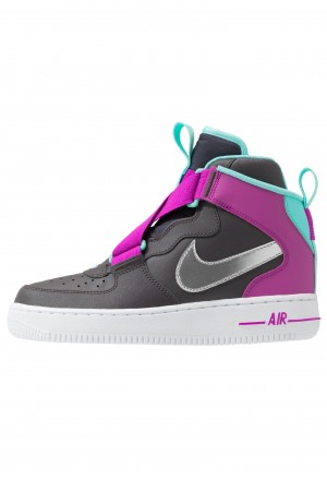 Nike AIR FORCE 1 BG - Sneakers hoog thunder grey/metallic silver/hyper violet/aurora greenNIKE303347