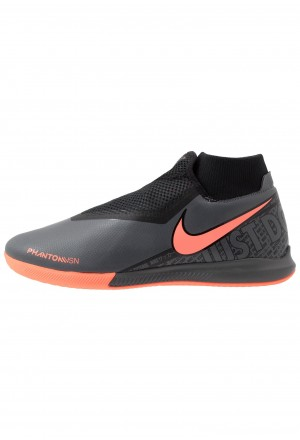 Nike PHANTOM OBRAX 3 ACADEMY DF IC - Zaalvoetbalschoenen dark grey/bright mango/blackNIKE202853