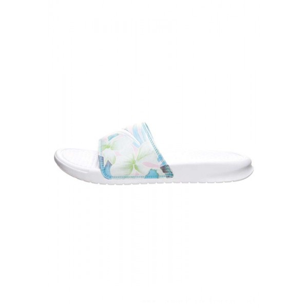 Nike BENASSI JUST DO IT PRINT - Badslippers white/blue gaze/aphid greenNIKE101615